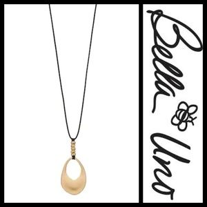 Bella Uno Gold Tone Cutout Disc Pendant Necklace